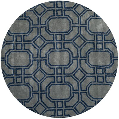Soho Grey/Dark Blue Rug Rug Size: Round 6'