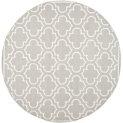 Dhurries Hand-Woven Wool Gray/Ivory Area Rug Rug Size: Round 7