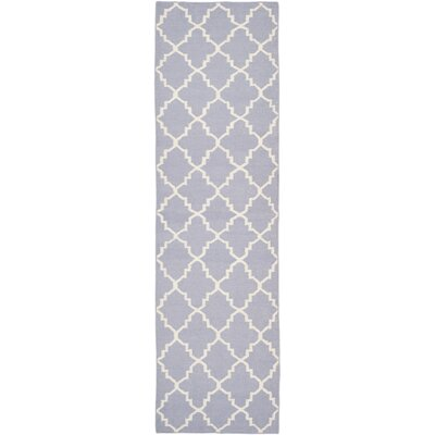 Dhurries Purple/Ivory Area Rug Rug Size: Runner 26 x 8