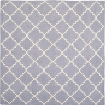 Dhurries Purple/Ivory Area Rug Rug Size: Square 6'