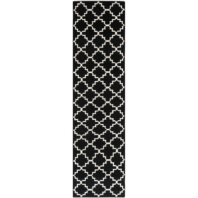 Dhurries Hand-Woven Wool Black/Ivory Area Rug Rug Size: Runner 26 x 14
