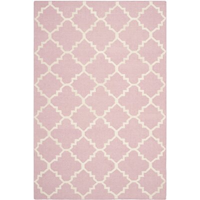 Dhurries Pink/Ivory Area Rug Rug Size: 4' x 6'
