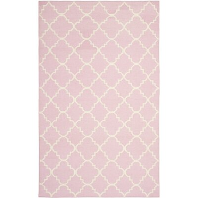 Dhurries Pink/Ivory Area Rug Rug Size: 5 x 8