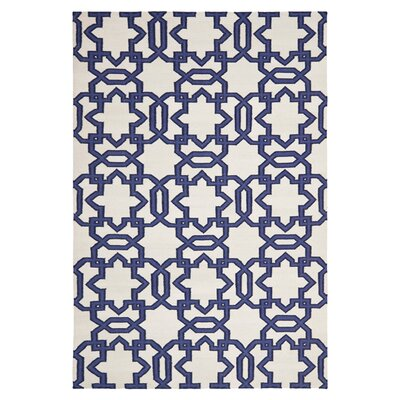Dhurries Hand-Woven Wool Ivory/Purple Area Rug Rug Size: Rectangle 4 x 6