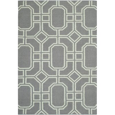 Dhurries Grey/Light Blue Area Rug Rug Size: 9 x 12