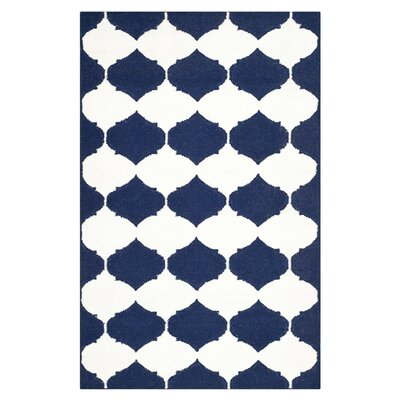 Dhurries Navy/Ivory Area Rug Rug Size: 3 x 5