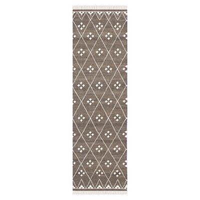 Natural Kilim Dhurrie Brown & Ivory Area Rug Rug Size: Runner 2'3