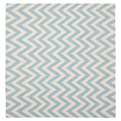 Dhurries Blue/Ivory Area Rug Rug Size: Square 8