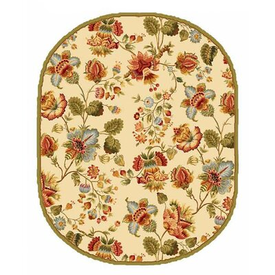 Kinchen Ivory/Red Area Rug Rug Size: Oval 4'6