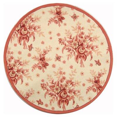 Kinchen Ivory/Pink Rose Garden Area Rug Rug Size: Round 8