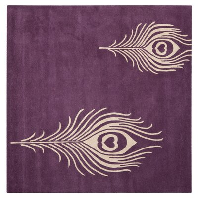 Soho Purple & Ivory Area Rug Rug Size: Square 4'