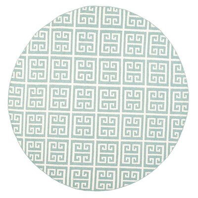 Dhurries Hand-Woven Wool Blue/Ivory Area Rug Rug Size: Round 7