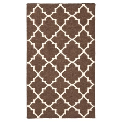 Dhurries Hand-Woven Wool Brown/Ivory Area Rug Rug Size: Rectangle 26 x 4