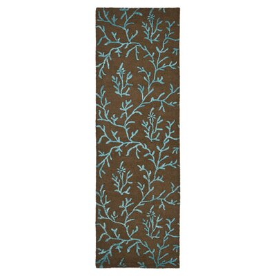 Soho Brown/Light Blue Area Rug Rug Size: Runner 26 x 8