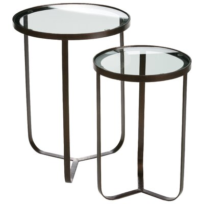 Dansville 2 Piece Glass Top End Table Set