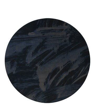 Industrial Landscape Blue/Black/Gray Area Rug Rug Size: Round 8