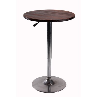 Height Adjustable Pub Table Color: Brown
