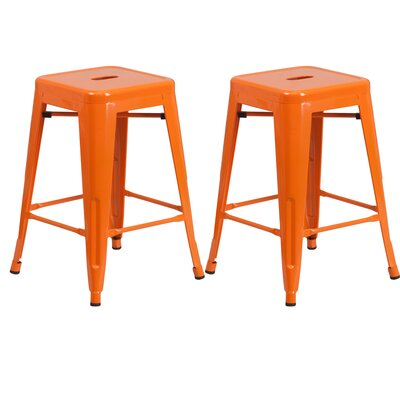 Sachs 24 Bar Stool Color: Orange