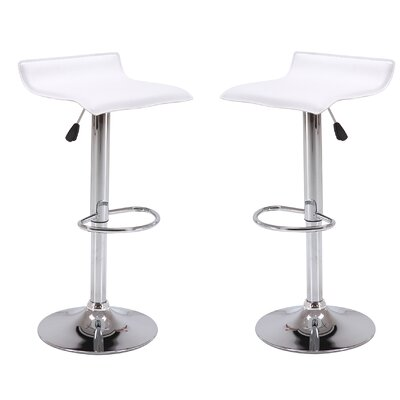 Adjustable Height Swivel Bar Stool Color: White