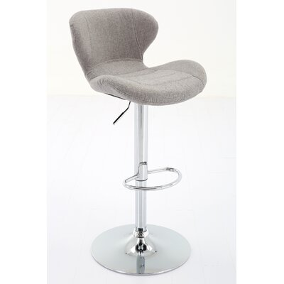 Bice Adjustable Height Swivel Bar Stool Upholstery: Gray