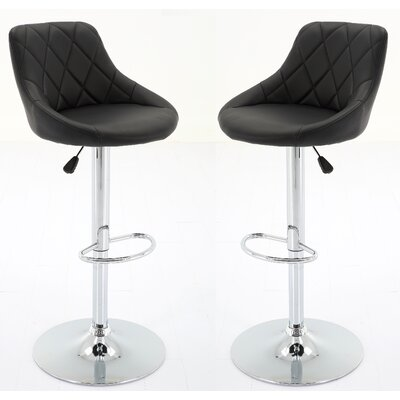 Bier Adjustable Height Swivel Bar Stool Upholstery: Black