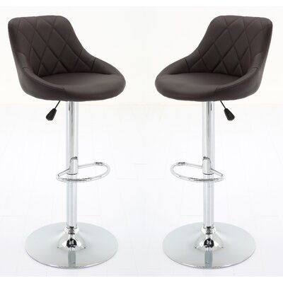 Bier Adjustable Height Swivel Bar Stool Upholstery: Brown
