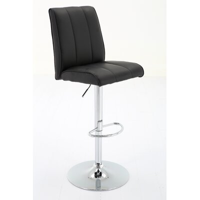 Bierman Adjustable Height Swivel Bar Stool Upholstery: Black