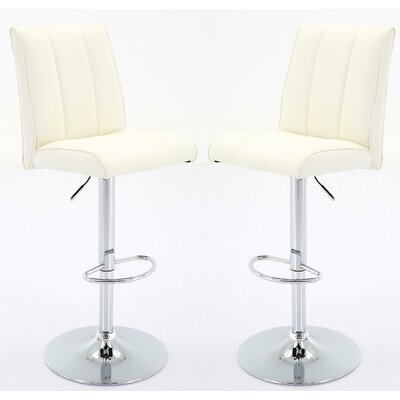 Bierman Adjustable Height Swivel Bar Stool Upholstery: White