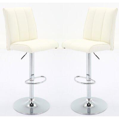 Bierman Adjustable Height Swivel Bar Stool Upholstery: White