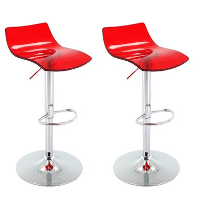 Bigby Adjustable Height Swivel Bar Stool Upholstery: Red