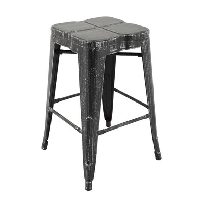 Samatha Bar Stool Color: Antique Black/Silver