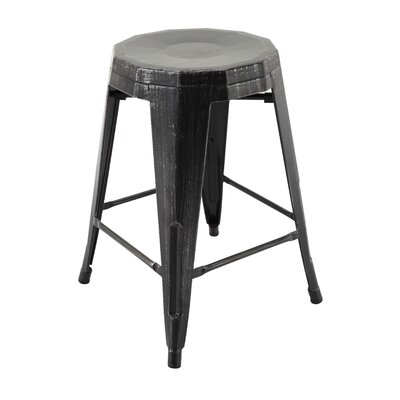 Sammy Bar Stool Color: Antique Black/Silver