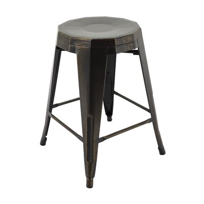 Sammy Bar Stool Color: Antique Black/Gold