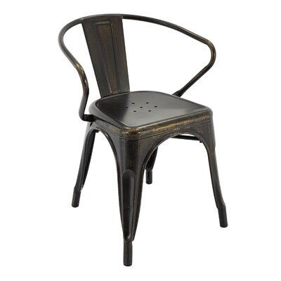 Pontiff Bar Stool with Back Color: Antique Black/Gold