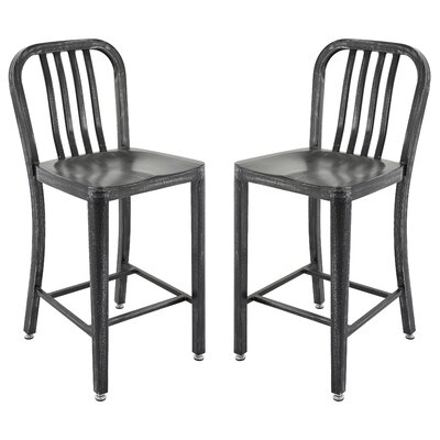 Pontius Bar Stool with Back Color: Antique Black/Silver