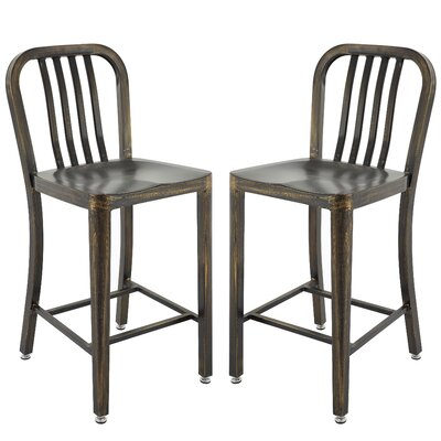 Pontius Bar Stool with Back Color: Antique Black/Gold