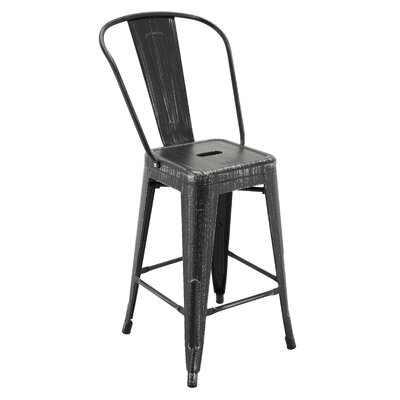 Ponton Bar Stool with Back Color: Antique Black/Silver