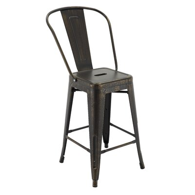 Ponton Bar Stool with Back Color: Antique Black/Gold