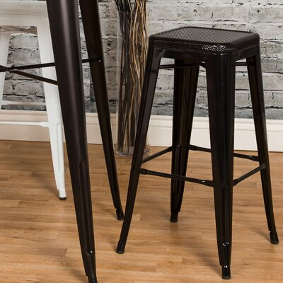 Piccolo Backless Top Mesh 24 Bar Stool Color: Black