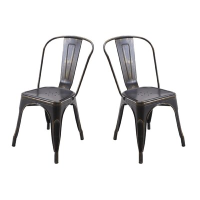 Metal Dining Chair Color: Antique Matt Black/Gold