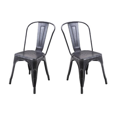 Metal Dining Chair Color: Antique Matt Black/Silver