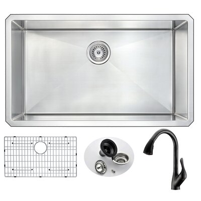Vanguard 32 x 19 Single Bowl Undermount Kitchen Sink with Faucet Faucet Finish: Oil Bronze