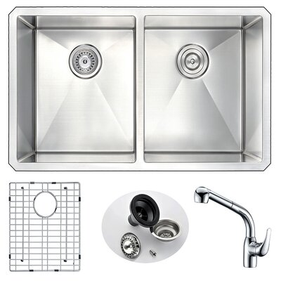 Vanguard 32 x 18 Double Bowl Undermount Kitchen Sink and Faucet Faucet Finish: Chrome