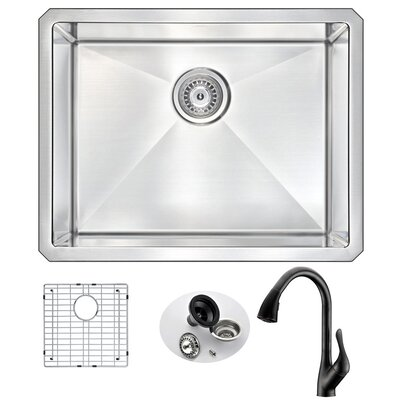 Vanguard 23 x 18 Single Bowl Undermount Kitchen Sink with Faucet Faucet Finish: Oil Bronze