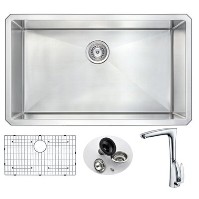 Vanguard 32 x 19 Single Bowl Undermount Kitchen Sink with Faucet Faucet Finish: Polished Chrome