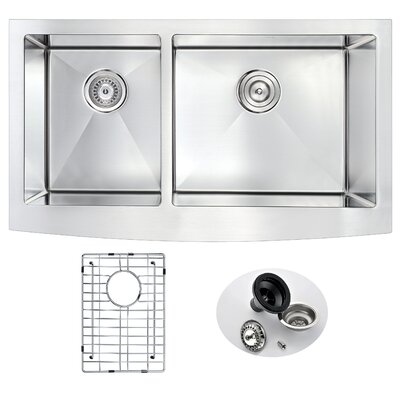 Elysian 35.88 x 20.75 Double Bowl Farmhouse Kitchen Sink with Drain Assembly