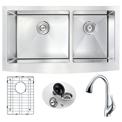 Elysian 32.88 x 20.75 Double Bowl Farmhouse Kitchen Sink with Faucet Faucet Finish: Polished Chrome