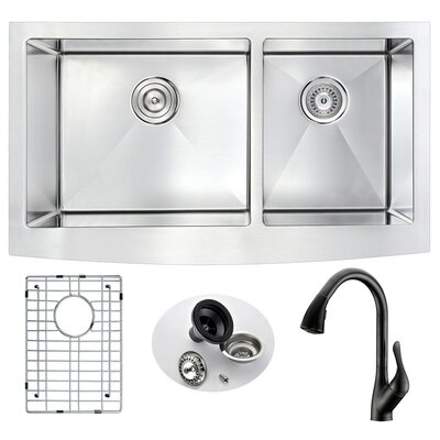 Elysian 32.88 x 20.75 Double Bowl Farmhouse Kitchen Sink with Faucet Faucet Finish: Oil Rubbed Bronze