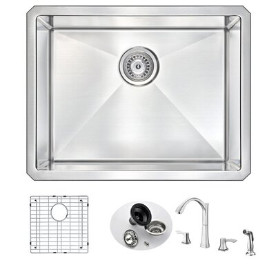 Vanguard 23 x 18 Single Bowl Undermount Kitchen Sink with Faucet Faucet Finish: Polished Chrome