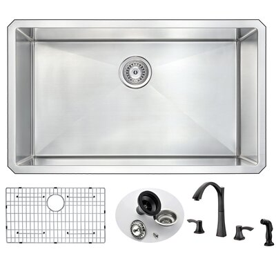 Vanguard 32 x 19 Single Bowl Undermount Kitchen Sink and Faucet Set with Drain Assembly Faucet Finish: Oil Rubbed Bronze